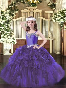 Sleeveless Floor Length Beading and Ruffles Lace Up Winning Pageant Gowns with Purple