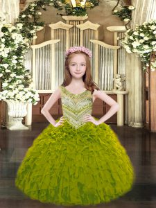Excellent Organza Scoop Sleeveless Lace Up Beading and Ruffles Child Pageant Dress in Olive Green