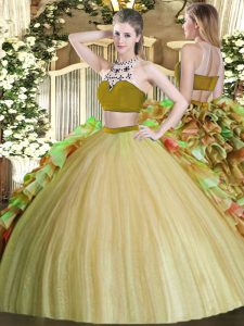 Fabulous Two Pieces 15th Birthday Dress Olive Green Bateau Tulle Sleeveless Floor Length Backless