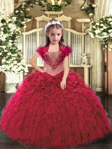 Beading and Ruffles Glitz Pageant Dress Red Lace Up Sleeveless Floor Length