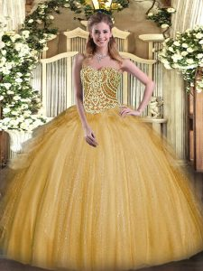 Sexy Gold Organza Lace Up Sweetheart Sleeveless Floor Length 15th Birthday Dress Beading and Ruffles
