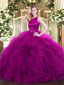 Graceful Fuchsia Scoop Clasp Handle Ruffles Quince Ball Gowns Sleeveless