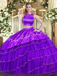 High-neck Sleeveless Tulle Quinceanera Dresses Embroidery and Ruffled Layers Criss Cross