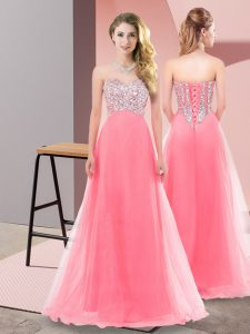 Smart Sleeveless Beading Lace Up Quinceanera Dama Dress