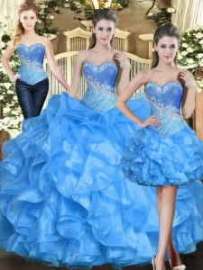 Sleeveless Floor Length Ruffles Lace Up Quinceanera Dresses with Baby Blue