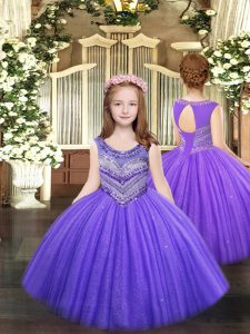 Amazing Lavender Ball Gowns Tulle Scoop Sleeveless Beading Floor Length Lace Up Kids Pageant Dress