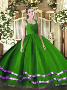 High End Green Straps Neckline Ruffled Layers Sweet 16 Quinceanera Dress Sleeveless Zipper
