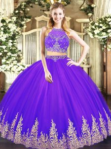 Sleeveless Zipper Floor Length Beading and Appliques Sweet 16 Dresses