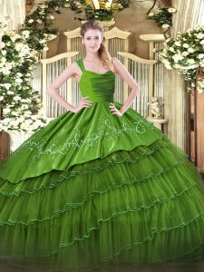 Nice Olive Green Ball Gowns Straps Sleeveless Organza and Taffeta Floor Length Zipper Embroidery and Ruffled Layers Sweet 16 Dresses