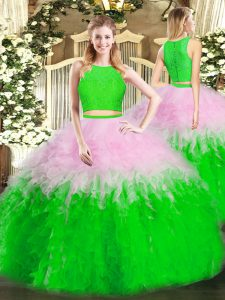 Discount Sleeveless Zipper Floor Length Ruffles Sweet 16 Dress