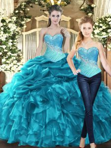 Teal Ball Gowns Sweetheart Sleeveless Tulle Floor Length Lace Up Beading and Ruffles Sweet 16 Dress