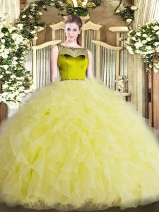 Pretty Floor Length Yellow Ball Gown Prom Dress Organza Sleeveless Beading and Ruffles