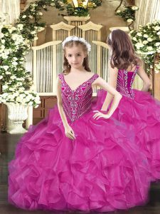 V-neck Sleeveless Organza Pageant Dress Womens Beading and Ruffles Lace Up