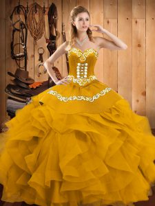 Sweetheart Sleeveless Sweet 16 Dress Floor Length Embroidery and Ruffles Gold Satin and Organza