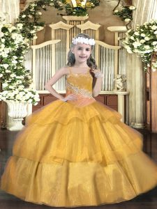 Simple Gold Sleeveless Floor Length Beading and Ruffled Layers and Sequins Lace Up Pageant Dress Wholesale