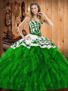 Ball Gowns Quinceanera Gown Green Sweetheart Satin and Organza Sleeveless Floor Length Lace Up