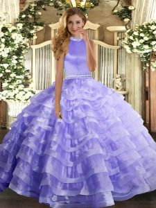 Best Selling Lavender Ball Gowns Halter Top Sleeveless Organza Floor Length Backless Beading and Ruffled Layers Quinceanera Dress