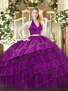 Cute Fuchsia Sweet 16 Dress Military Ball and Sweet 16 and Quinceanera with Embroidery and Ruffled Layers Halter Top Sleeveless Zipper