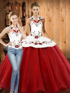 White And Red Ball Gowns Halter Top Sleeveless Organza Floor Length Lace Up Embroidery Quinceanera Gowns