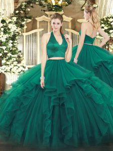 Halter Top Sleeveless Zipper Vestidos de Quinceanera Dark Green Organza