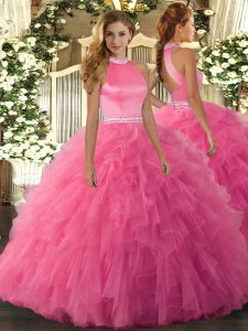 Wonderful Hot Pink Sleeveless Organza Backless Ball Gown Prom Dress for Military Ball and Sweet 16 and Quinceanera