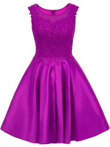 Eggplant Purple A-line Scoop Sleeveless Satin Mini Length Zipper Lace Quinceanera Court of Honor Dress