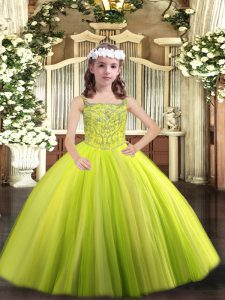 Low Price Straps Sleeveless Lace Up Girls Pageant Dresses Yellow Green Tulle