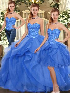 Exceptional Sleeveless Floor Length Ruffles Lace Up Vestidos de Quinceanera with Blue