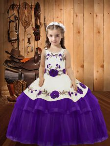 Cute Eggplant Purple Lace Up Pageant Dress Womens Embroidery and Ruffled Layers Sleeveless Floor Length