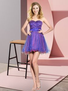 Hot Selling Mini Length Multi-color Damas Dress Tulle Sleeveless Beading and Sequins