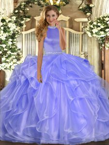 Halter Top Sleeveless Backless Quinceanera Dresses Lavender Organza
