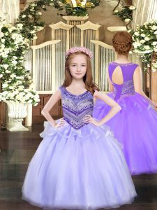 Best Floor Length Lavender Pageant Dress for Teens Scoop Sleeveless Lace Up