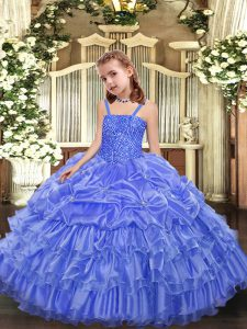 Hot Sale Straps Sleeveless Little Girl Pageant Gowns Floor Length Beading and Ruffled Layers and Pick Ups Lavender Organza