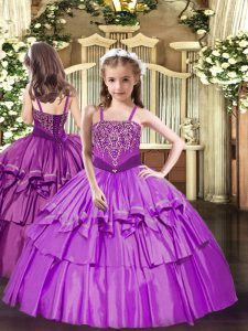 Lilac Sleeveless Organza Lace Up High School Pageant Dress for Party and Quinceanera