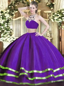 Gorgeous Floor Length Purple Quinceanera Gown High-neck Sleeveless Backless