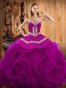 Fuchsia Ball Gowns Embroidery and Ruffles Sweet 16 Dresses Lace Up Organza Sleeveless Floor Length