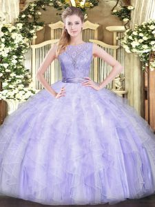 Scoop Sleeveless Organza Vestidos de Quinceanera Beading and Ruffles Backless