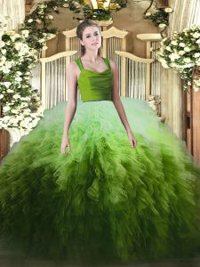 Graceful Floor Length Zipper Quinceanera Dress Multi-color for Military Ball and Sweet 16 and Quinceanera with Ruffles