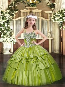 Sleeveless Organza Floor Length Lace Up Child Pageant Dress in Olive Green with Appliques and Ruffled Layers
