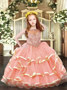 Exquisite Watermelon Red Ball Gowns Scoop Sleeveless Organza Floor Length Zipper Beading and Ruffled Layers Little Girls Pageant Dress Wholesale