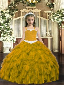 Sleeveless Appliques and Ruffles Lace Up Kids Pageant Dress