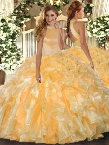Best Halter Top Sleeveless Backless Quinceanera Gowns Gold Organza