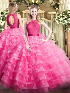 Hot Pink Ball Gowns Organza Scoop Sleeveless Ruffled Layers Floor Length Zipper 15 Quinceanera Dress