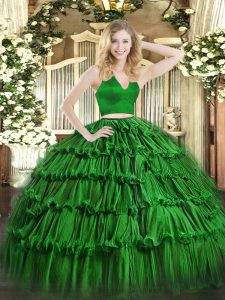 Sexy Organza Halter Top Sleeveless Zipper Ruffled Layers Sweet 16 Dresses in Green