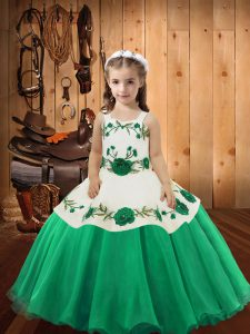 Sleeveless Organza Floor Length Lace Up Kids Pageant Dress in Turquoise with Embroidery
