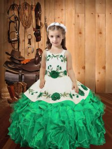 High End Turquoise Straps Neckline Embroidery and Ruffles Pageant Dress Toddler Sleeveless Lace Up