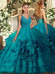 Sexy Organza Sleeveless Quinceanera Dresses and Beading and Ruffled Layers