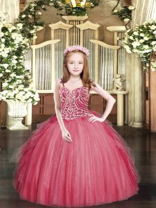 Coral Red Lace Up Spaghetti Straps Beading and Ruffles Little Girls Pageant Dress Tulle Sleeveless