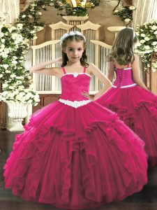 Hot Pink Sleeveless Appliques and Ruffles Floor Length Girls Pageant Dresses