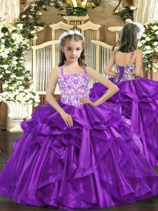 Excellent Floor Length Eggplant Purple Pageant Gowns For Girls Straps Sleeveless Lace Up